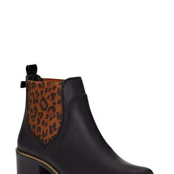 Kate Spade Sedgwick Animal Print Rain Boots Black