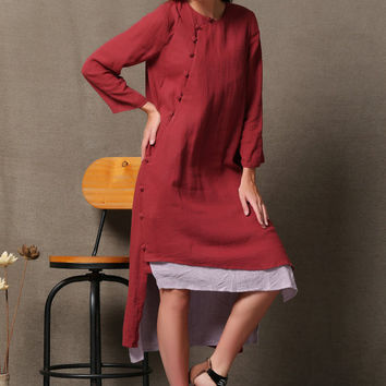 Rose Red Linen Maxi Dress With Double Pockets C547