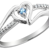 Swiss Blue Topaz Heart Promise Ring with Diamonds 1/10 Carat (ctw) in Sterling Silver, Size 6