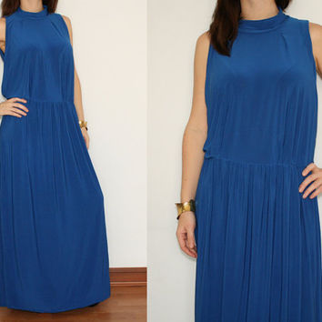Maxi Dress Turtleneck Long Summer dress in Cobalt Blue for Women