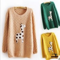 Lovely dots giraffe sweater 3 colors