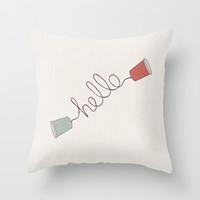 Hello! Throw Pillow by Basilique