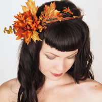 Autumn Harvest Wedding Flower Crown - Head Wreath with Flowers & Leaves in Fall Colors - Orange and Golden Yellow - Wedding Head Piece