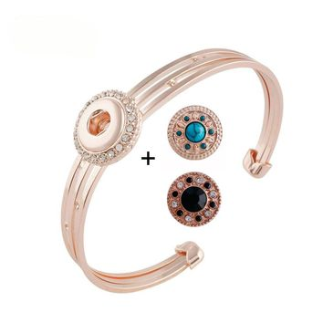 "Snap Charm Rose Gold Plated Bracelet Mini Snap 12mm (1/2"" Diameter) Dragonfly Snap Fits Ginger Snaps"