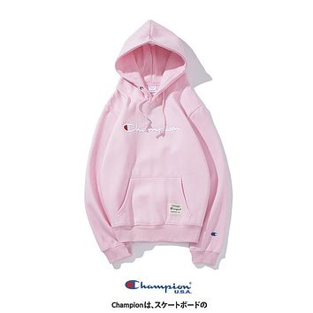 Champion autumn and winter style tide brand loose embroidered letter hooded pullover Pink