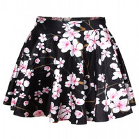 Aoki Fashion - Peach Blossom Print Black High-waisted Flared Skirt
