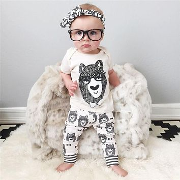 Girls Bear Shirt with Bear Print Pants 2 Piece Set