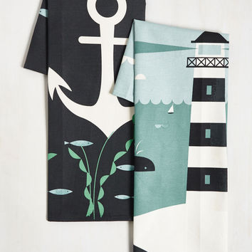 Aweigh From It All Tea Towel Set in Deep Sea | Mod Retro Vintage Kitchen | ModCloth.com