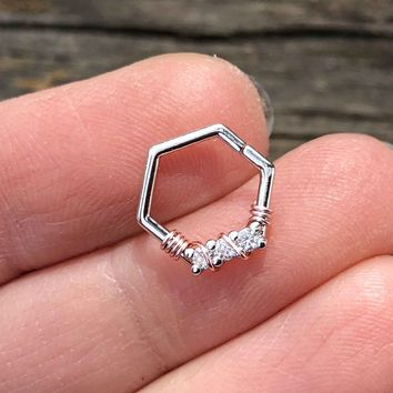 16 Gauge Hexagon Daith Hoop Ring Rook Hoop Cartilage Helix