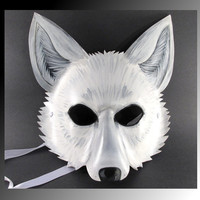 Arctic White Wolf Mask handmade from Leather
