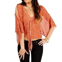 Rust Floral Cold Shoulder Tie Front Top