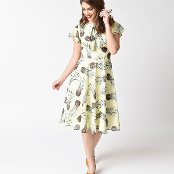 Unique Vintage 1940s Yellow Pineapple Print Cap Sleeve Dixon Day Dress