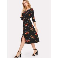 Multicolor Button Up Frilled Floral Print Dress