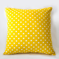 Yellow Polka-Dot Decorative Pillow, Spotty Cushion Cover, Modern Pillow , Cotton Pillow Case,Handmade Pilow Cover, Home Decor Pillow