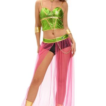6pc Role Play Women Party Halloween Costumes Star Wars Cosplay Sexy Princess Leia Slave Costume Top+ Bottom+ Gloves+Leg Warmers