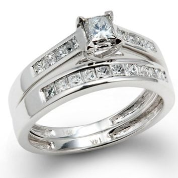 1.00 Carat (ctw) 14k White Gold Princess Diamond Ladies Bridal Ring Engagement Set Matching Wedding Band 1 CT (Size 7)