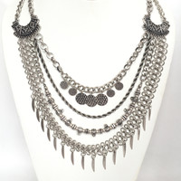 Multi Chain Statement Necklace Set In Silver