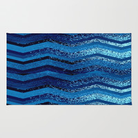 sparkly and dark blue adventure Rug by Marianna Tankelevich
