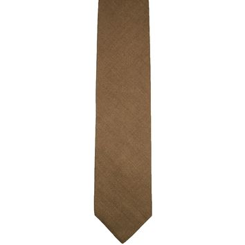 Rubinacci Solid Wide Silk Viscose Blend Tie - Tan / Brown