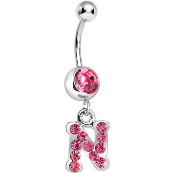 Pink Gem Letter N Initial Dangle Belly Ring