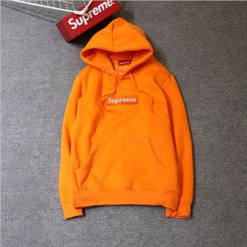 PEAPIH3 Supreme tide card plus cashmere classic BOX embroidery matcha green thin sweater coat men's hooded sweater ladies hoodie Orange
