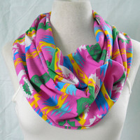 The Pink Aztec Print Infinity Scarf -  Navajo Tribal Cotton Jersey Knit Cowl -