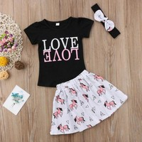 Love Girls Pink Unicorn Skirt Set