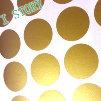 Polka Dot Wall Sticker Gold Wall Decal Peel and Stick Metallic Gold Polka Dot Wall Sticker Home Decor
