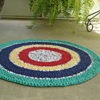 "Primary colors rag rug. Hand crochet, upcycled, recycled, repurposed, eco-friendly. 31"" round."