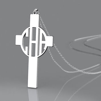 Personalized any name cross pendant necklace 1 inch monogram 925 Sterling Silver engraved necklace
