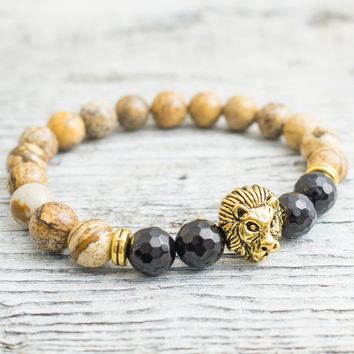 Brown jasper stone and faceted black onyx beaded gold Lion head stretchy bracelet, yoga bracelet, mens bracelet, womens bracelet