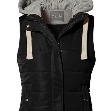 Quilted Fully Lined Padded Puffer Vest with Hoodie - Black