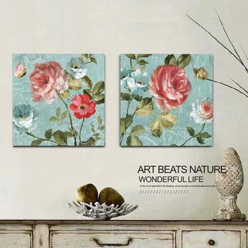 Light blue vintage floral roses butterfly oil painting canvas pictures for living room bedroom home decor wall art office