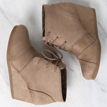 Lace-Up Wedge Ankle Booties - more colors