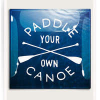 Paddle Your Own Canoe Decoupage Glass Tray