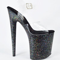 "Flamingo 808MG Black Platform Ankle Strap Shoe 8"" Iridescent Glitter 5-12"
