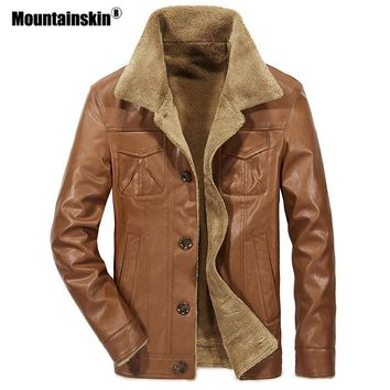 Mountainskin New Men's Leather Jacket PU Coats Mens Brand Clothing Thermal Outerwear Winter Fur Male Fleece Jackets SA533