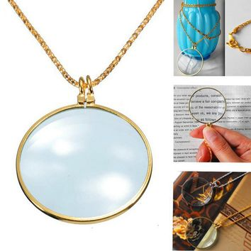 6x Magnifier Pendant Necklace Magnify Glass Reeding Decorativ Monocle Necklace