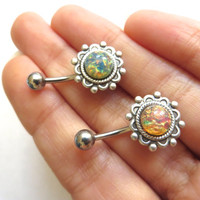 Fire Opal Atom Ornate Flower Belly Button Ring Navel Piercing Stud Bar Barbell Pink Blue Antique Silver Atomic