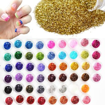 60pcs Different Colors Nail Glitter Powder Dust 3D Nail Art Decoration Acrylic UV Gem Polish Nail Art Tools Set LANJ151