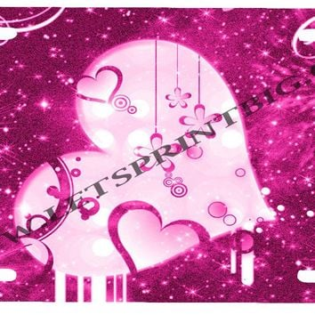 Pink Heart License Plate Car Tag