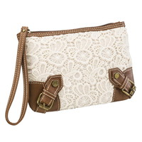 Crochet And Faux Leather Wristlet With Front Buckles - Beige