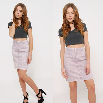 Vintage 80s Acid Wash Mini Skirt LAVENDER Denim PENCIL Skirt HIPSTER Skirt Body Con Skirt Jean Skirt