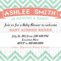 Mint Coral Chevron Baby Shower Invitation - Printable/Digital File