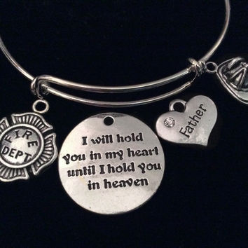 Firefighter Father Daddy Dad Memorial Expandable Charm Bracelet Silver Adjustable Bangle Fireman's Gift