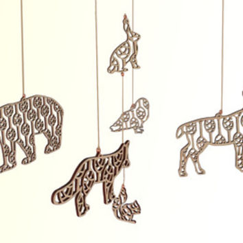 Woodland Animals Baby Mobile // Baby's Crib Mobile // Woodland Nursery // Nursery Décor // Deer Mobile // Forest Mobile // Wheat Pattern