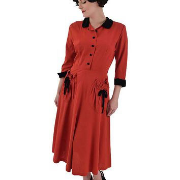 40s Red Rayon Garbardine Shirtwaist Dress