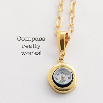 Working Compass Necklace, Floral Gold Compass Necklace, Reversible Pendant, Wearable Tech Gift for Her, Gold Necklace, Geek Nerd Present