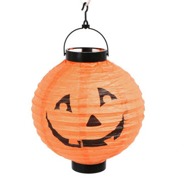 Halloween Party Decoration Lanterns Skull Bones Bat Spider Pumpkin LED Light Portable Hanging Paper Lantern Lamp New