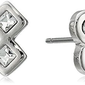 Marc Jacobs Argento Crystal Cross Stud Earrings